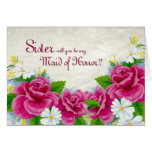 Maid of Honor Sister Request Card