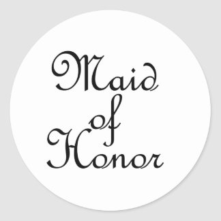 Maid of Honor Round Stickers