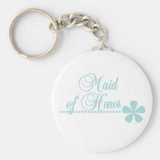 Maid of Honor Teal Elegance Basic Round Button Keychain