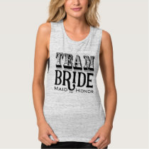 Maid of Honor Team Bride Hand Lettered Black Ink Tank Top