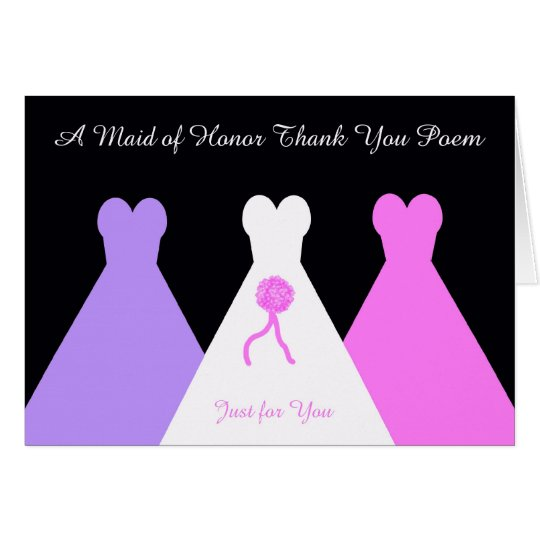 Maid of Honor Thank You Poem Card