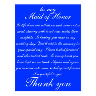 Maid of Honor Thank you Postcard