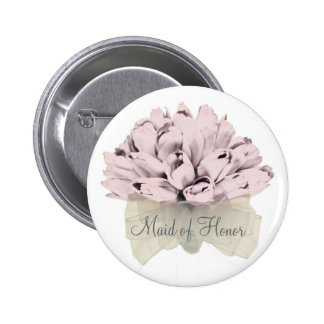 Maid of Honor The Wedding / Pink Flowers #09 Pinback Button