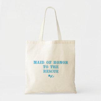Maid of Honor Tote Aqua Canvas Bag