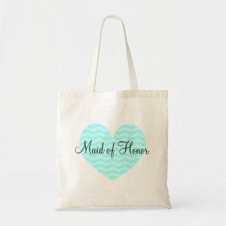 Maid of Honor turquoise heart chevron tote bag