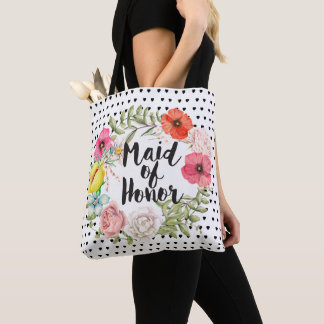 Maid of Honor  Typography Watercolor Floral Wreath Tote Bag