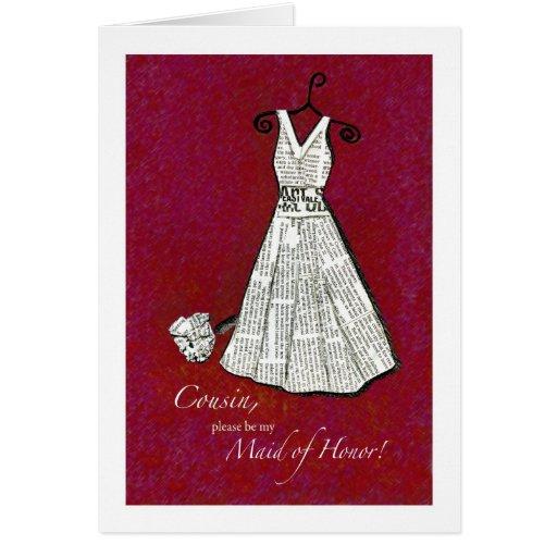 Maid of Honor, Vintage Dress, Newspaper Greeting Card
