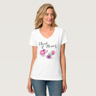 Maid of Honor Watercolor Flowers T T-Shirt