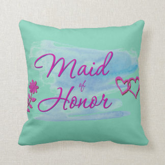 Maid of Honor Watercolor Swatch Throw Pillow
