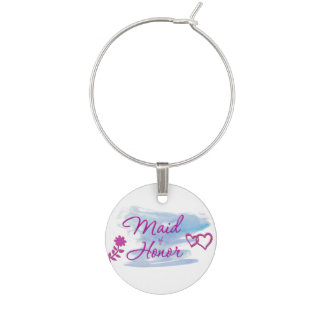 Maid of Honor Watercolor Swatch Wine Charm
