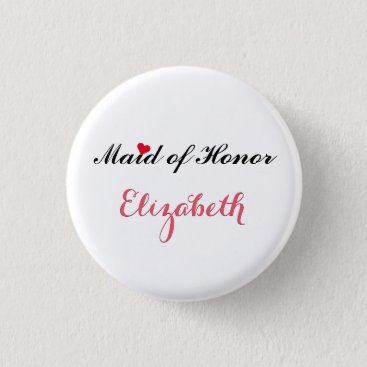 Valentines Themed Maid of Honor Wedding Bachelorette Party Button