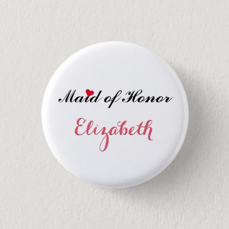 Maid of Honor Wedding Bachelorette Party Button