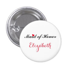 Maid of Honor Wedding Bachelorette Party Button at Zazzle