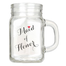 Maid Of Honor Wedding Bridal Shower Elegant Script Mason Jar at Zazzle