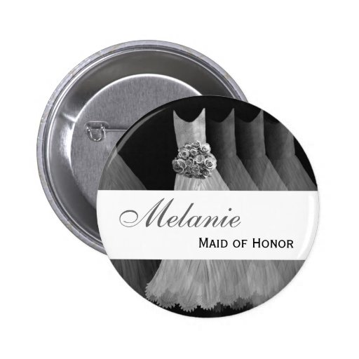 MAID OF HONOR Wedding Button  SILVER Gowns V2
