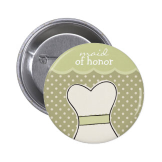 Maid of honor -- Wedding dress // GREEN 2 Inch Round Button