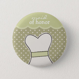 Maid of honor -- Wedding dress // GREEN Pinback Button