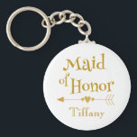 "Maid of Honor Wedding Gifts Keychain<br><div class=""desc"">A lovely design  to commemorate your wedding day,  show your maid of honor how much your appreciate her today.  Featuring &quot;Maid of Honor&quot; in beautiful gold text,  customize her name at the bottom. 