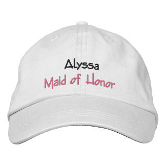 Maid of Honor Wedding Hat Custom Name and Role Embroidered Hat