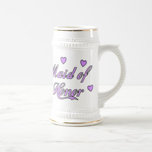 Maid of Honor Wedding Hearts Beer Stein