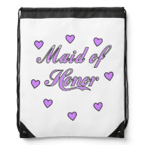 Maid of Honor Wedding Hearts Drawstring Backpack