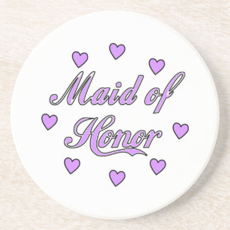 Maid of Honor Wedding Hearts Drink Coaster