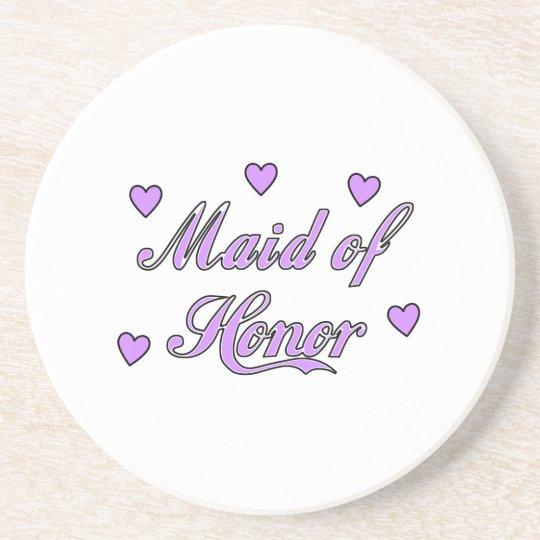 Maid of Honor Wedding Hearts Drink Coaster