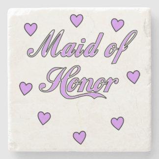 Maid of Honor Wedding Hearts Stone Coaster