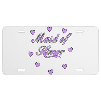 Maid of Honor Wedding Hearts License Plate