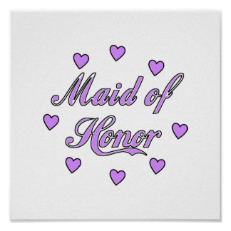 Maid of Honor Wedding Hearts Poster