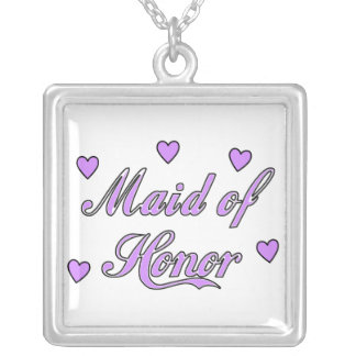 Maid of Honor Wedding Hearts Silver Plated Necklace