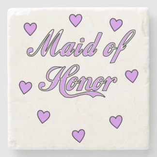 Maid of Honor Wedding Hearts Stone Coaster