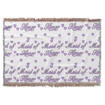 Maid of Honor Wedding Hearts Throw Blanket