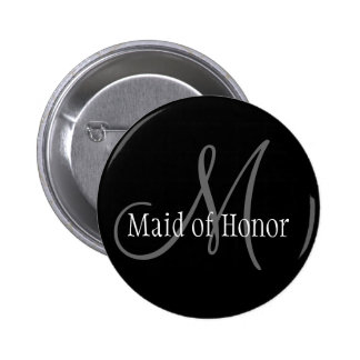 Maid of Honor Wedding Monogram Button