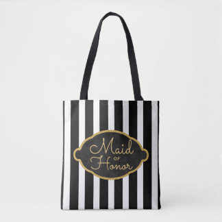 Maid of Honor Wedding Party Modern Black Stripes Tote Bag