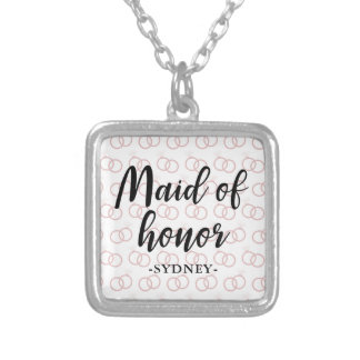 Maid of Honor Wedding Ring Pattern and Name Silver Plated Necklace