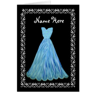 MAID OF HONOR Wedding Thank You BLUE Flowered Gown Greeting Cards