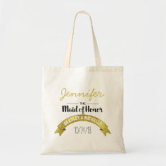 Maid Of Honor Wedding Tote Bag | Gold Glamour at Zazzle