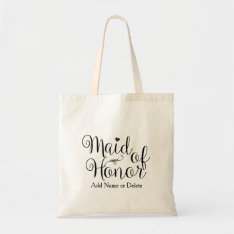 Maid Of Honor Wedding Tote Budget Canvas Tote Bag at Zazzle