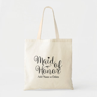 Maid of Honor Wedding Tote Budget Canvas Tote Bag