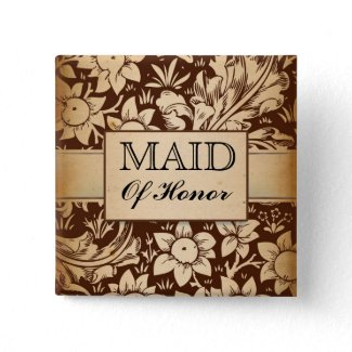 maid of honor wedding vintage damask buttons