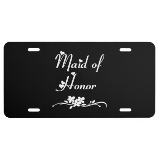 Maid Of Honor Weddings License Plate