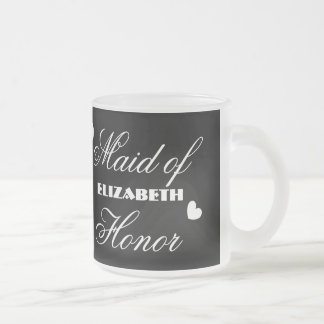 Maid of Honor with Hearts A01C Frosted Glass Coffee Mug
