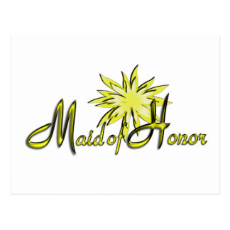 Maid of Honor Yellow Post Cards