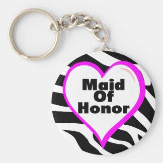 Maid Of Honor Zebra Stripes Basic Round Button Keychain
