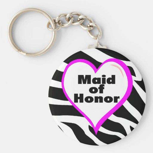 Maid Of Honor (Zebra Stripes) Basic Round Button Keychain