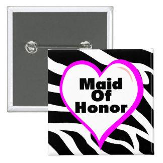 Maid Of Honor Zebra Stripes Pinback Button