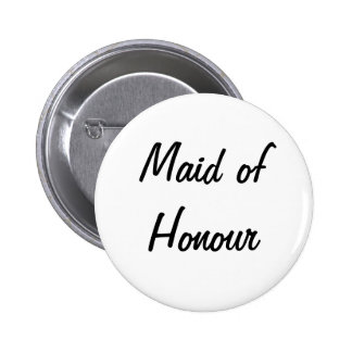 'Maid of Honour' Badge Pinback Buttons
