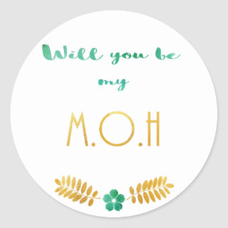 Maid of honour green and gold classic round sticker