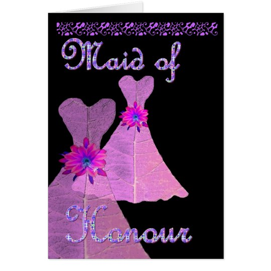 MAID OF HONOUR  Invitation PURPLE Gown